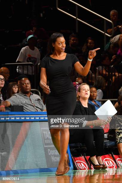 Amber Stocks of the Chicago Sky looks on during the game against the New York Liberty in a WNBA game on August 27 2017 at Madison Square Garden in...