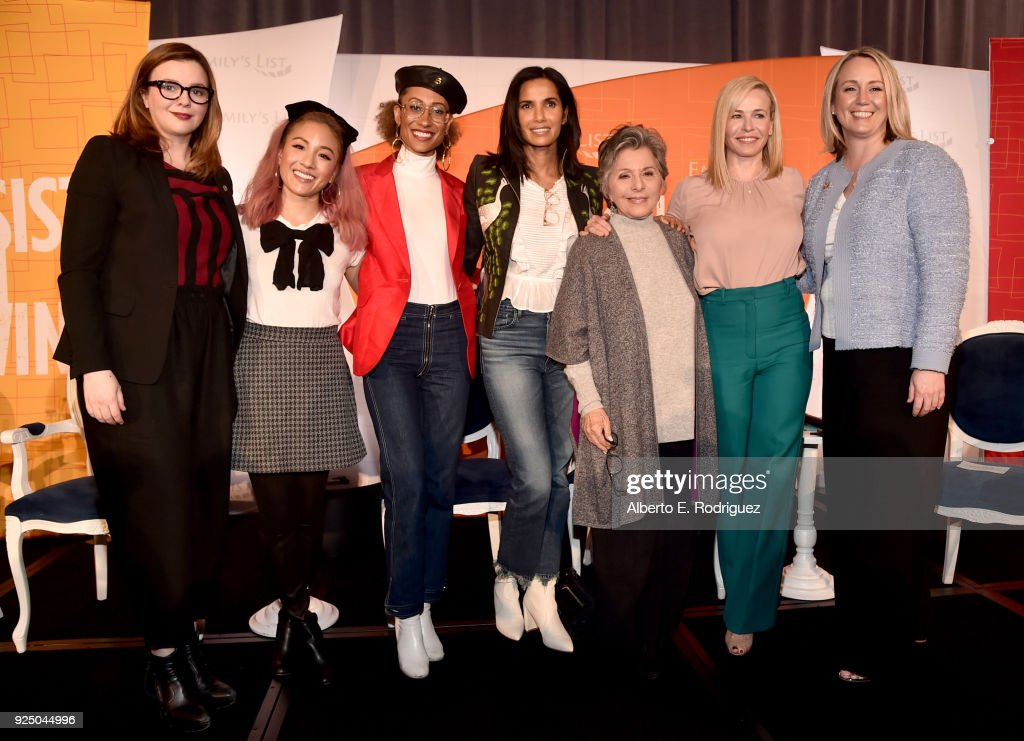 Amber Tamblyn, Constance Wu, Elaine Welteroth, Padma Lakshmi, Former U.S. Senator Barbara Boxer, Co-Chair Chelsea Handler and Stephanie Schriock, President of EMILY's List attend EMILY's List Pre-Oscars Brunch and Panel on February 27, 2018 in Los Angeles, California.