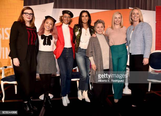 Amber Tamblyn Constance Wu Elaine Welteroth Padma Lakshmi Former US Senator Barbara Boxer CoChair Chelsea Handler and Stephanie Schriock President of...