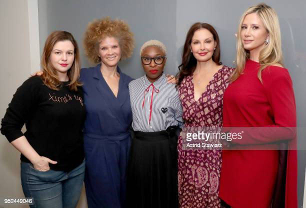 Amber Tamblyn Michaela Angela Davis Cynthia Erivo Ashley Judd and Mira Sorvino attend Time's Up during the 2018 Tribeca Film Festival at Spring...