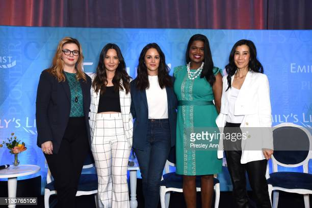 Amber Tamblyn Olivia Munn Melissa Fumero Kim Foxx and Lisa Ling pose onstage during Raising Our Voices Supporting More Women in Hollywood Politics at...