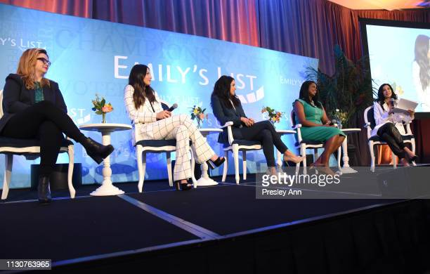 Amber Tamblyn Olivia Munn Melissa Fumero Kim Foxx and Lisa Ling speak onstage during Raising Our Voices Supporting More Women in Hollywood Politics...