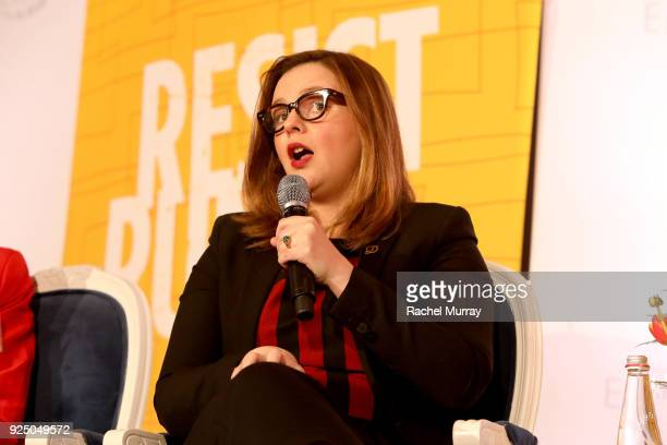 Amber Tamblyn speaks onstage at EMILY's List's Resist Run Win PreOscars Brunch on February 27 2018 in Los Angeles California