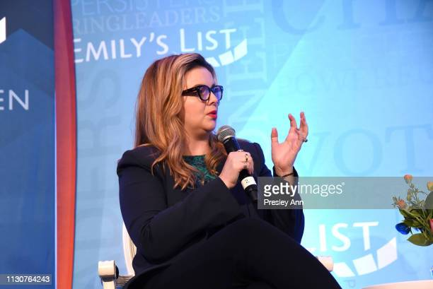 Amber Tamblyn speaks onstage during Raising Our Voices Supporting More Women in Hollywood Politics at Four Seasons Hotel Los Angeles in Beverly Hills...