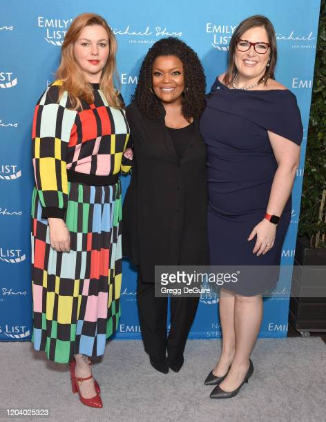 Amber Tamblyn, Yvette Nicole Brown, and Emily Cain attend EMILY's List 3rd Annual Pre-Oscars Event at Four Seasons Hotel Los Angeles at Beverly Hills...