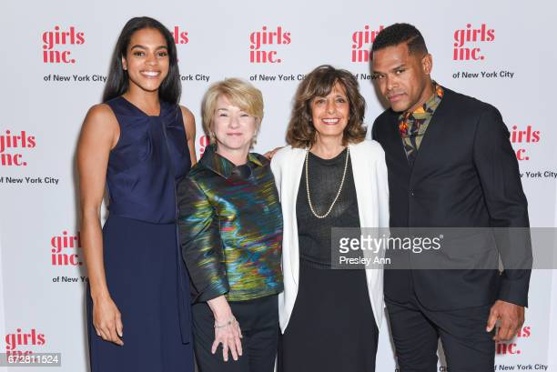 Amber Tolliver Sarah Sally Miller Pam Marlado and Maxwell attend Girls Inc of New York City 2017 spring luncheon at The Metropolitan Club on April 24...