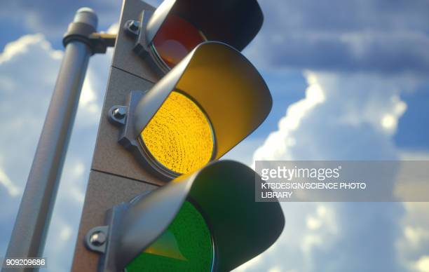 Amber traffic light, illustration