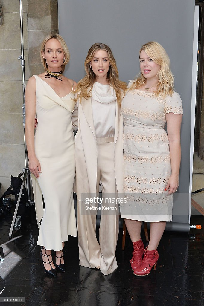Amber Valletta, Amber Heard and Amanda de Cadenet attend NET-A-PORTER Celebrates Women Behind The Lens at Chateau Marmont on February 26, 2016 in Los Angeles, California.