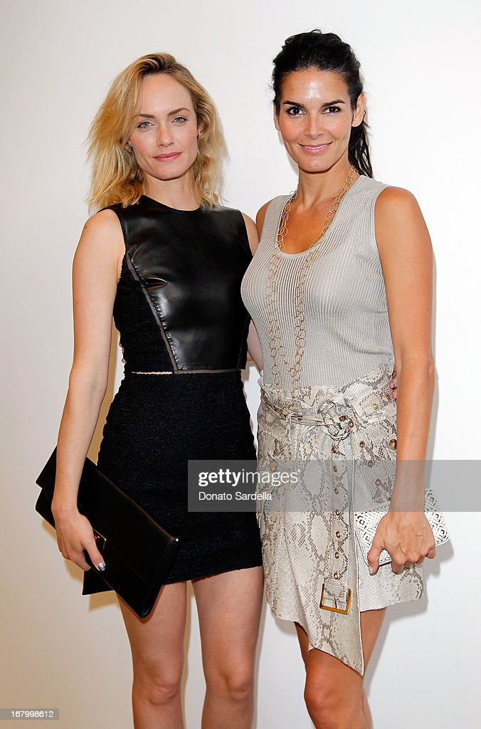 Amber Valletta and Angie Harmon attend a cocktail reception hosted by Ferragamo to announce the inaugural opening gala for the Wallis Annenberg Center for the Performing Arts at Gagosian Gallery on May 3, 2013 in Beverly Hills, California.
