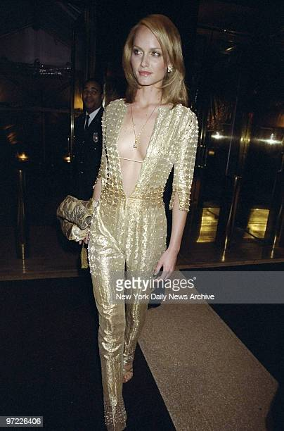 Amber Valletta arrives for the Costume Institute Gala Rock Style an exhibit of rock 'n' roll fashions at the Metropolitan Museum of Art