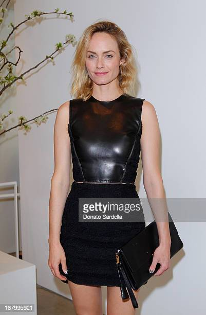 Amber Valletta attends a cocktail reception hosted by Ferragamo to announce the inaugural opening gala for the Wallis Annenberg Center for the...