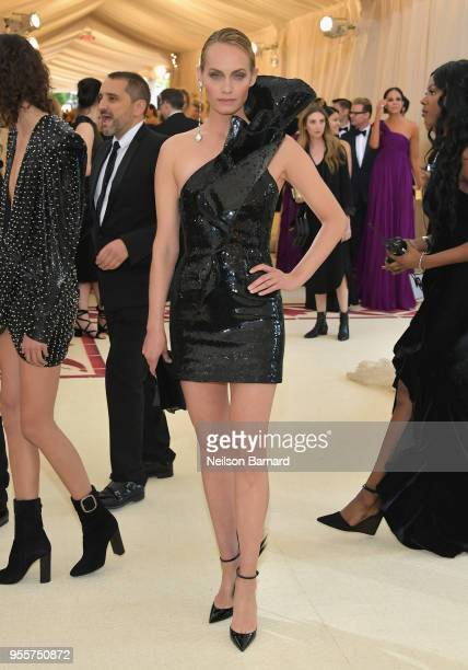 Amber Valletta attends the Heavenly Bodies Fashion The Catholic Imagination Costume Institute Gala at The Metropolitan Museum of Art on May 7 2018 in...