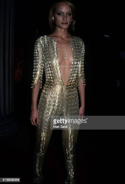 Amber Valletta attends the Metropolitan Museum's Costume Institute gala exhibition of 'Rock Style' at the Metropolitan Museum of Art New York New...