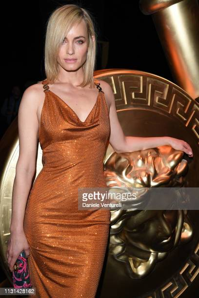 Amber Valletta attends the Versace show at Milan Fashion Week Autumn/Winter 2019/20 on February 22 2019 in Milan Italy