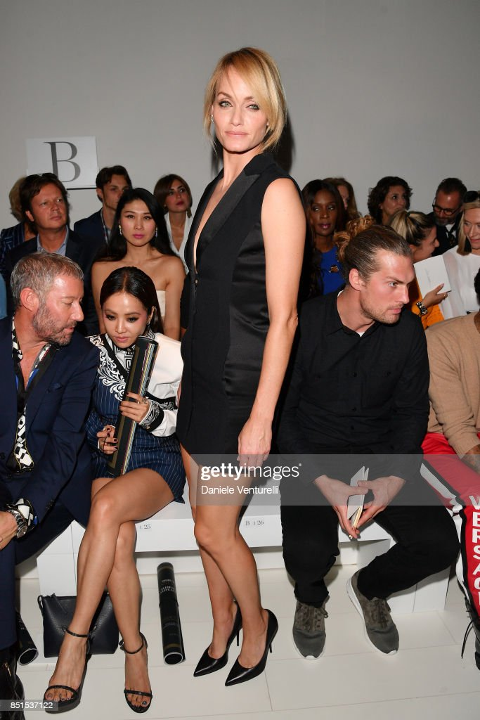 Amber Valletta attends the Versace show during Milan Fashion Week Spring/Summer 2018 on September 22, 2017 in Milan, Italy.