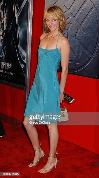 Amber Valletta during Hellboy Los Angeles Premiere Arrivals at Village Theatre in Westwood California United States