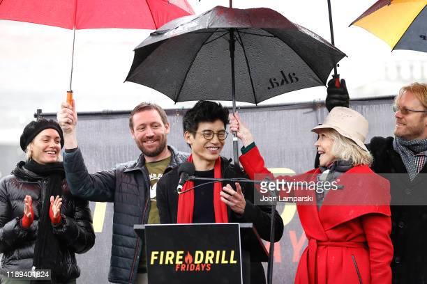 Amber Valletta Manny Jacinto and Jane Fonda demonstrate near the US Capitol during Fire Drill Friday climate change protest on November 22 2019 in...