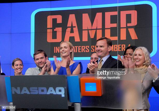 Amber Valletta rings the closing bell at the NASDAQ MarketSite on August 31 2009 in New York City