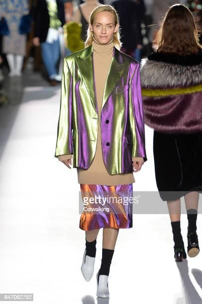 Amber Valletta walks the runway at the Dries Van Noten Autumn Winter 2017 fashion show during Paris Fashion Week on March 1 2017 in Paris France