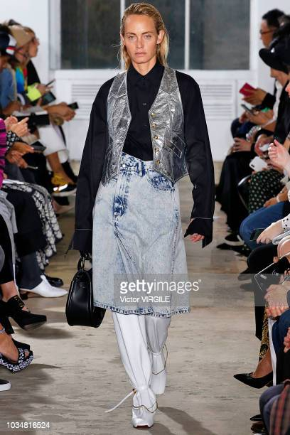 Amber Valletta walks the runway at the Proenza Schouler Spring/Summer 2019 fashion show during New York Fashion Week on September 10 2018 in New York...