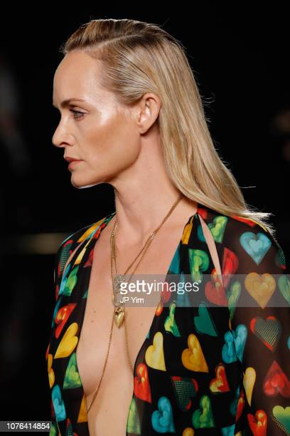 Amber Valletta walks the runway at the Versace PreFall 2019 Collection at The American Stock Exchange on December 02 2018 in New York City