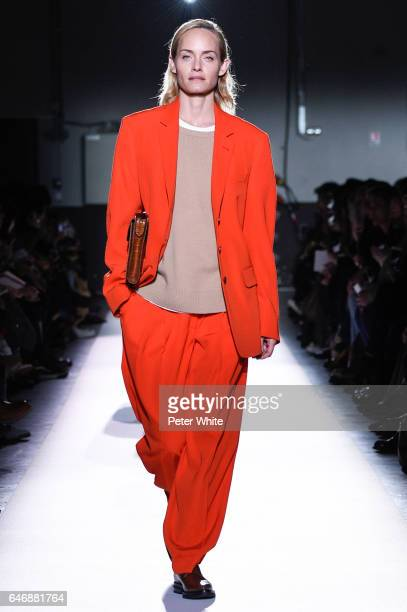 Amber Valletta walks the runway during the Dries Van Noten show as part of the Paris Fashion Week Womenswear Fall/Winter 2017/2018 on March 1 2017 in...