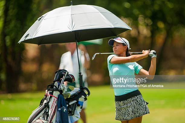 Amber Wang hits her shot on the fourth hole during Round Three of the 40th PGA Junior Championship at The Miramont Country Club on August 5 2015 in...