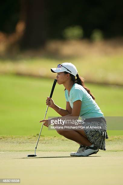 Amber Wang reads her putt on the fifth hole during Round Three of the 40th PGA Junior Championship at The Miramont Country Club on August 5 2015 in...