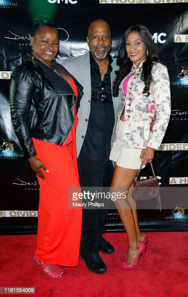 Amber Washington Peter Wise and Tina Weisinger arrive at UMC's A House Divided Screening at Seventy7 North on July 11 2019 in Studio City California
