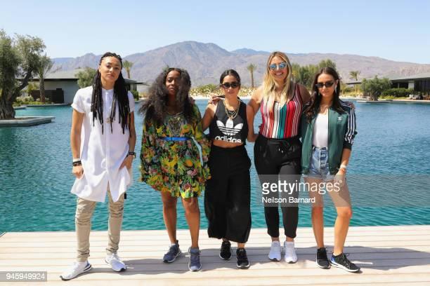 Amber Whittington Ade Samuel Lauren Abedini Katie H Willcox and Olivia Perez attend adidas Originals #TLKS Back of House at Zenyara Luxury Villas on...