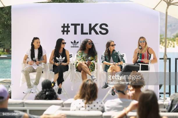 Amber Whittington Lauren Abedini Ade Samuel Olivia Perez and Katie H Willcox speak during adidas Originals #TLKS Back of House at Zenyara Luxury...