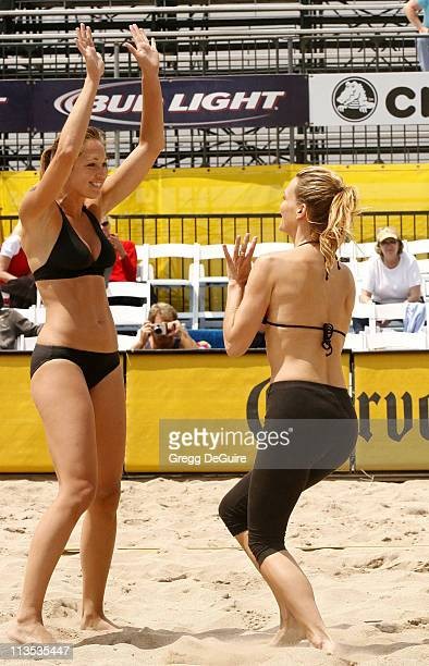 Amber Willey and Molly Sims during Molly Sims Attempts To Qualify For The AVP Cuervo Gold Crown Huntington Beach Open Volleyball Tournament at...