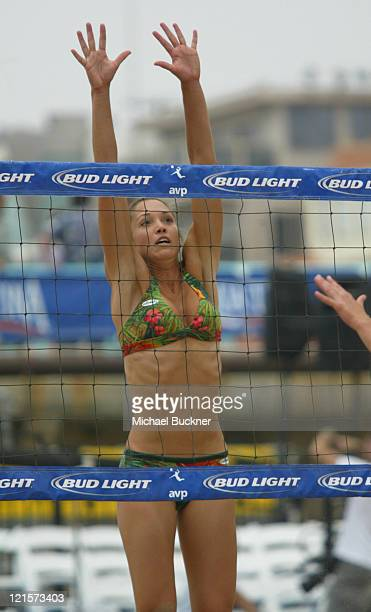 Amber Willey jumpes to the net during the first round of the local qualifiers at the Manhattan Beach Open in Manhattan Beach California on June 4...