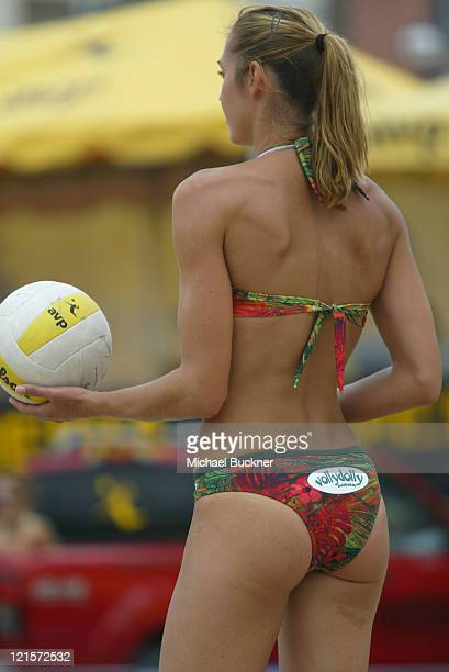 Amber Willey prepares to serve during the first round of the local qualifiers at the Manhattan Beach Open in Manhattan Beach California on June 4...