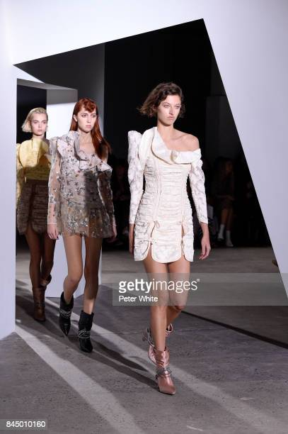 Amber Witcomb and Teddy Quinlivan walk the runway at the SelfPortrait Spring Summer 2018 Front Row during New York Fashion Week on September 9 2017...
