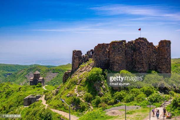 amberts castle ruin on aragats mountain, armenia - castle mountain stock photos and pictures