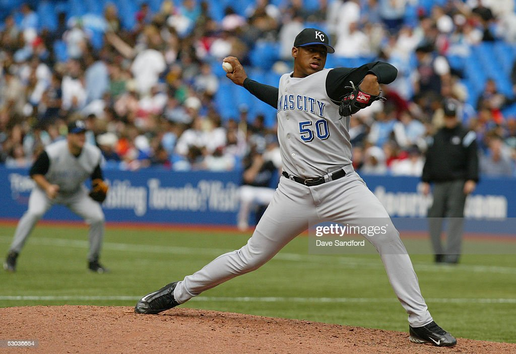 Ambiorix Burgos #50 of the Kansas City Royals pitches against the Toronto Blue Jays during the game at Rogers Centre on May 11, 2005 in Toronto, Ontario. The Blue Jays defeated the Royals 12-9.