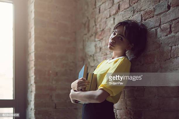 ambitious, cute intellectual - geek girl stock photos and pictures