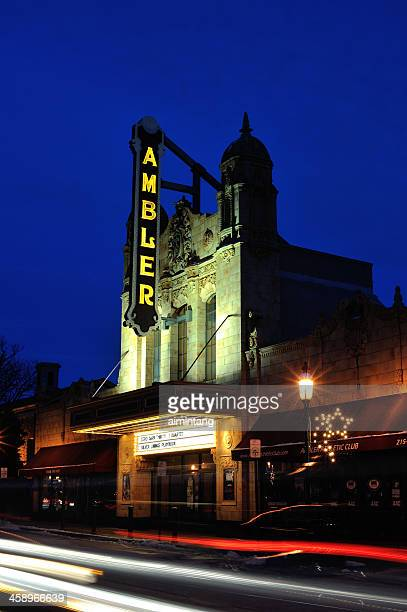 ambler theater at night - montgomery county pennsylvania stock pictures, royalty-free photos & images