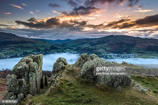 Ambleside sunrise with misty conditions. Lake District National park. UK. Europe.