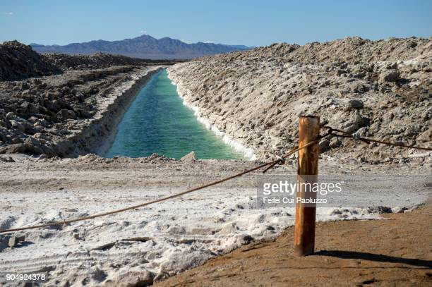 amboy salt evaporation pond - amboy california stock photos and pictures