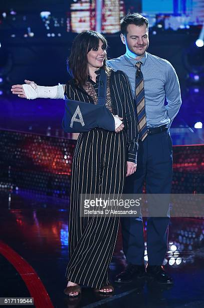 Ambra Angiolini and Alessandro Cattelan attend E poi c'e' Cattelan Tv Show on March 23 2016 in Milan Italy