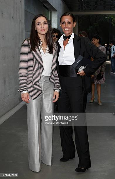 Ambra Angiolini and Anna Kanakis arrive at the Giorgio Armani show as part of Milan Fashion Week Spring Summer 2008 on September 24, 2007 in Milan,...