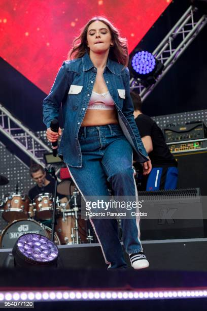 Ambra Angiolini and Francesca Michielin performs on stage on May 1 2018 in Rome Italy