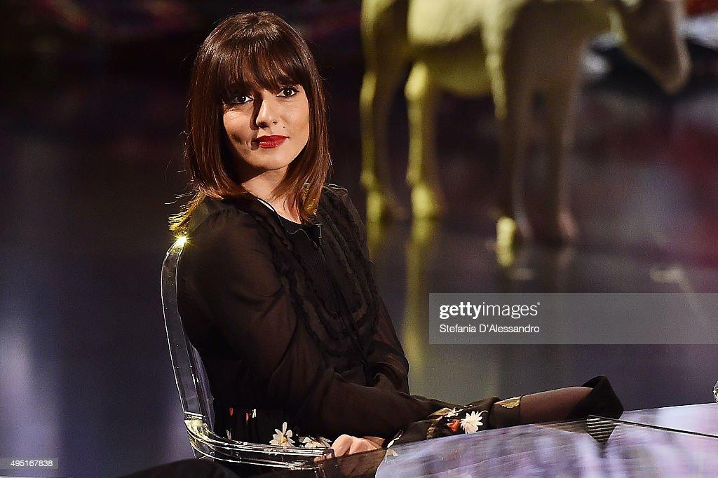 Ambra Angiolini attends 'Che Fuori Che Tempo Che Fa' Tv Show on October 31, 2015 in Milan, Italy.