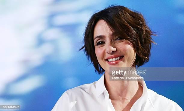 Ambra Angiolini attends 'Le Invasioni Barbariche' TV Show on April 2 2014 in Milan Italy