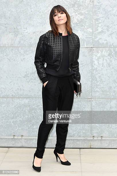 Ambra Angiolini attends the Emporio Armani show during Milan Fashion Week Fall/Winter 2016/17 on February 26 2016 in Milan Italy