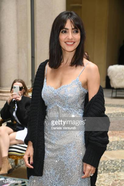 Ambra Angiolini is seen on the front row of the Ermanno Scervino fashion show during the Milan Fashion Week - Spring / Summer 2022 on September 25,...