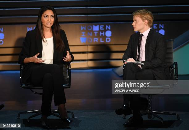 Ambra Battilana Gutierrez and Ronan Farrow speak onstage at the 2018 Women In The World Summit at Lincoln Center on April 12 2018 in New York City /...