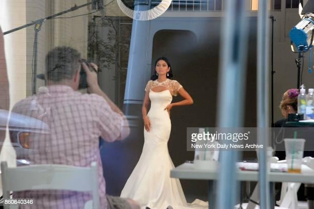 Ambra Battilana Gutierrez models a wedding dress at a midtown photo shoot on Tuesday October 10 2017